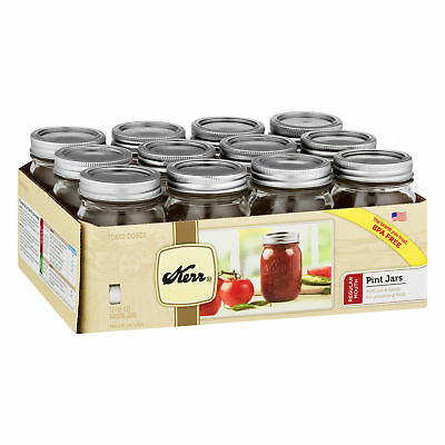 Kerr Wide Mouth Half-Pint 8 Oz. Glass Mason Jars with Lids and Bands, 12 Count