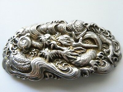 Vintage Sterling silver Dragon Belt Buckle from Asia