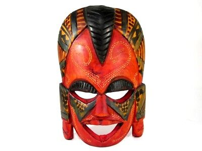 Attractive Old Vintage Hand Carved Wooden African Wall Mask Souvenir!!!