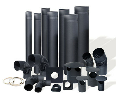 Black - Steel Flue Pipes, Elbows, Cowls - From 4 Inch Up To 6 Inch