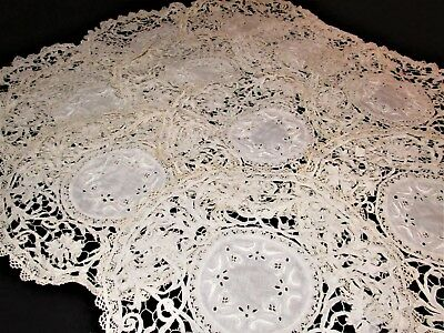 Antique Off White Cantu LACE Place Mats, set of 11  Embroidered Center (A14)