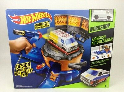 Hot Wheels Airbrush Auto Designer Custom Car Paint Workshop & Chevy Van Toy New