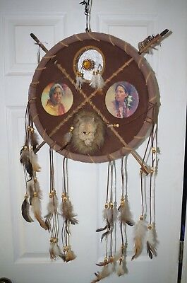 "Vintage DREAM CATCHER 33"" Tall Native American 3d Wolf Head Charm Pictures"