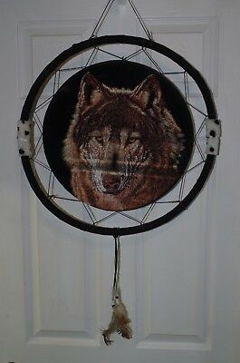 "Vintage DREAM CATCHER 31"" Tall Native American Wolf Head"