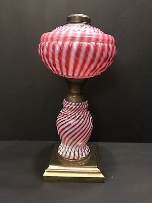 Fenton Vintage Cranberry Optic Swirl Oil Lamp On Metal Base