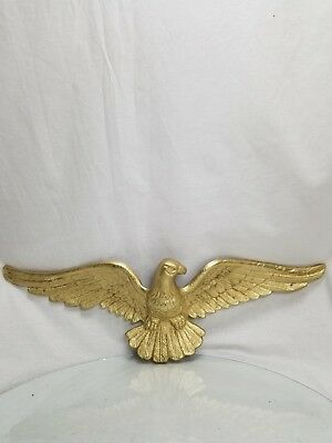 Vintage Brass Metal American Patriot Bald Eagle Gold Color Plaque Wall hanging