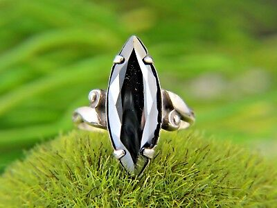 Vintage Art Deco Ring Sterling Silver 925 Cco Clark & Coombs Hematite Ring Sz 7