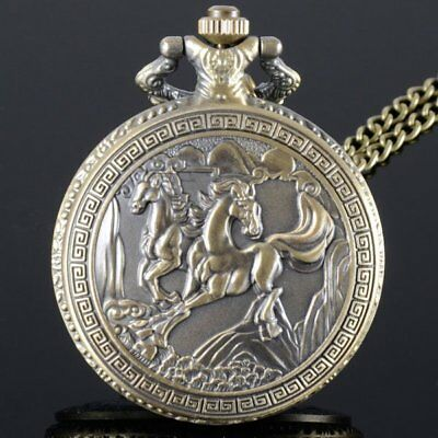 Retro Bronze Antique Horse Vintage Quartz Design Pocket Watch Pendant Necklace