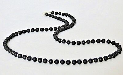 """Black Onyx Gemstone 6mm Bead Mens 24"""" 36"""" Necklace Sterling Silver Clasp Option"""