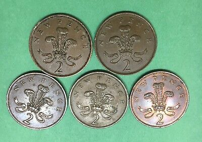 World Coins - United Kingdom Great Britain 2 New Pence 1975-1981 Lot Of 5 Coins