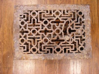 Old Vtg  Original Antique Cast Iron Floor Grate