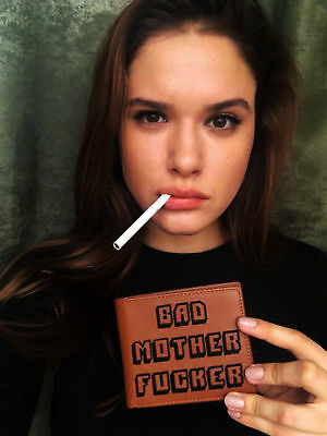 BAD MOTHER WALLET |BMF| Embroidered BROWN Leather Wallet As Seen PULP FICTION