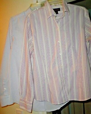 Brooks Brothers Size 12 Striped Button-down 2 in Lot Purple & Blue Stripe Career