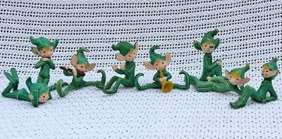 Vintage Japan Elf Figurine Lot of Eight (8) Ceramic Green Clothes Christmas