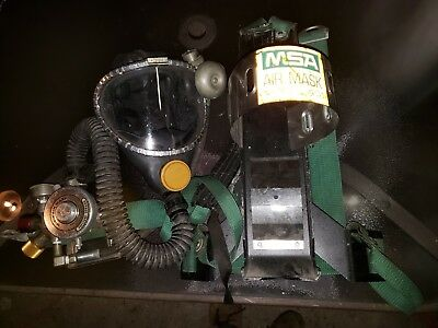 Msa Model 401 Mask And Harness Back Pak Air Tank Holder And Regulator