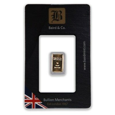 1g Baird and Co Gold Bar Fine Gold Bar Bullion 999.9