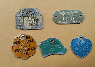 Michigan Ohio Dog License Tags Boards of Health 5 Tags