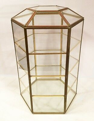 """Glass and brass curio cabinet. Hexigon shape. No back, view from any angle. 13""""."""