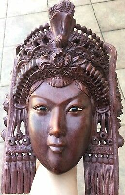 """11"""" Vintage Asian Empress with Ornate Headdress Hand Carved Solid Rosewood Mask"""