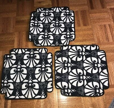 Vintage Fabric Table Placemats Quilted Black White Mats Set Of 3