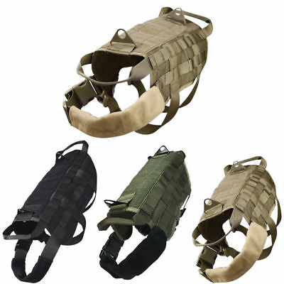 Tactical K9 Dog Military Police Molle Vest Nylon Service Canine Harness M L XL