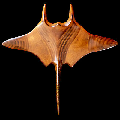 MANTA RAY STING RAY SCULPTURE with QUEEN CONCH SHELL / LARGE handcrafted WOOD