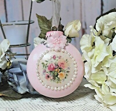 ~ Shabby Chic Vintage Victorian Elegance Christmas Ornament Pearl Accents Pink~