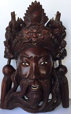 """10"""" Vintage Asian Emperor with Ornate Headdress Hand Carved Solid Rosewood Mask"""