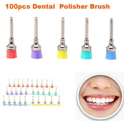 100 PCS Mixed Color Disposable Dental Prophy Brush Latch Flat Polishing Polisher