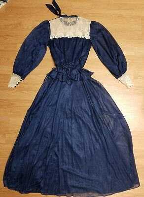 Beautiful Creations By Aria Vintage Dress Off White/navy Blue W/ Lace  Size S