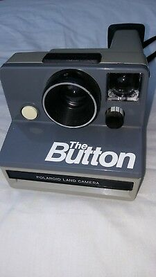 Vintage Polaroid Land Camera THE BUTTON Gray With Strap UNTESTED