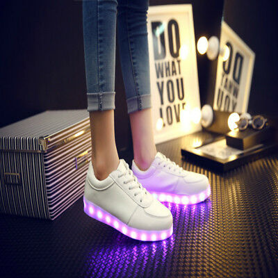 Unisex LED Light Lace Up Luminous DJ Sportswear Sneaker Step Dance Casual Shoes