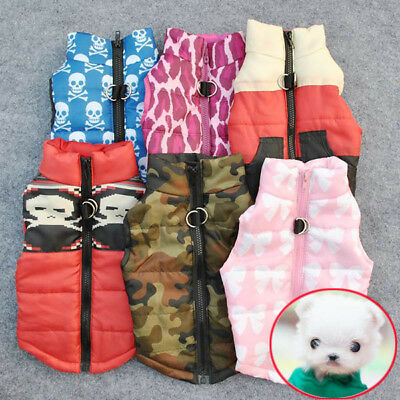 UK Small Pet Dog Soft Padded Vest Harness Coat Puppy Cat Warm Jacket Clothes NEW