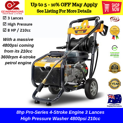 8hp Pro-Series 4-Stroke Engine 3 Lances High Pressure Washer 4800psi 210cc