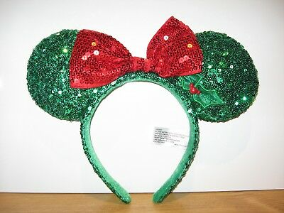 Disney World Parks Christmas Green Sequin Minnie Mouse Ears Red Bow Holly Berry