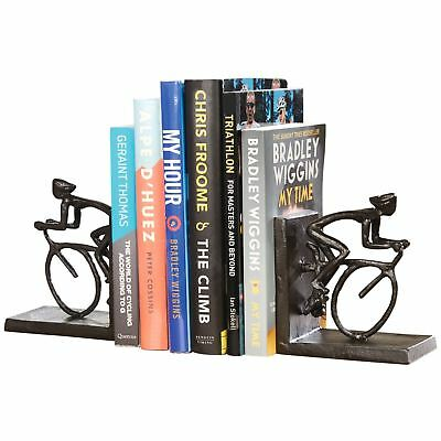 Cyclist Bookends Cycling Bicycle Bike Riding Metal Cast Iron Sculpture Book Ends