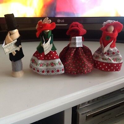 Cristmas/winter wooden peg Carol singers, really beautiful, handcrafted by me