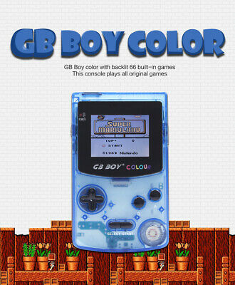 "GB Boy Colour Handheld Console for Gameboy Color Game 2.7"" Backlit Crystal Blue"
