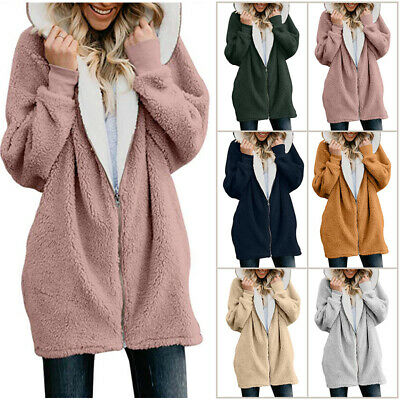 Plus Size Womens Winter Hooded Fluffy Coat Fleece Fur Jacket Loose Tops Cover US