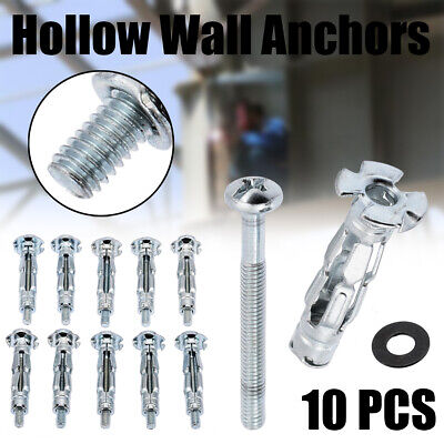 10Pcs M4 Grip Hollow Wall Anchor Plasterboard Plaster Board Cavity Fixings Screw