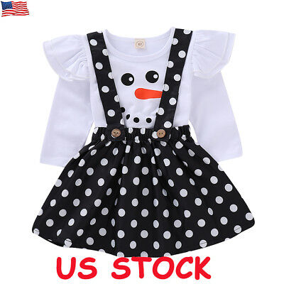 Toddler Kids Baby Girl Clothes Tops T Shirt Braces Skirt Dress Outfits 2PCS Set