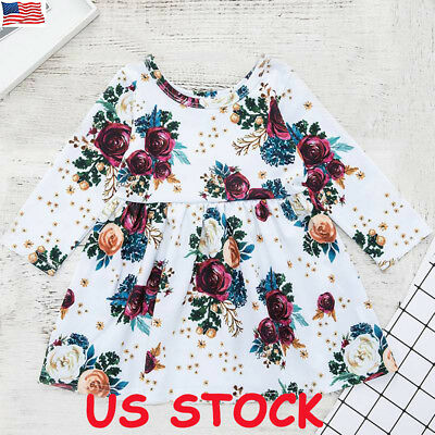 Toddler Baby Girls Long Sleeve Floral Flower Print Dress Clothes Princess Tops