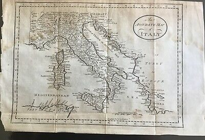 Original Antique Map Of Italy, Circa 1812