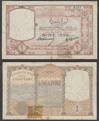 Syria 1 Livre 1935 Overprint: SYRIE 1939 (F) Condition Banknote P-39A