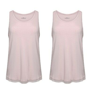 Pack of 2 Ladies Famous Make Lace Trim  Pink Thermal Vests. Sizes S M L
