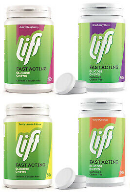 Gluco Tabs/Lift 50's Tubs Glucose Tablets *Orange Raspberry Blueberry & Lime*