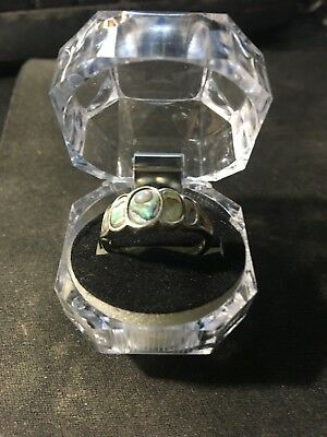 925 inlaid abalone ring maked 925 an 8 size 7 3/4