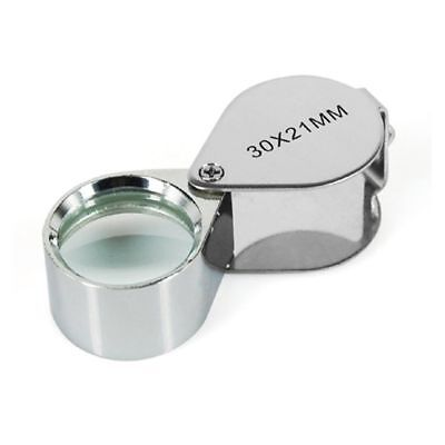 JEWELLERS LOUPE 30 x 21mm GLASS JEWELLRY ANTIQUES MAGNIFIER HALLMARK EYE LENS