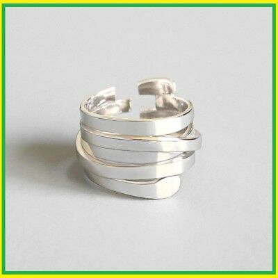 Women Open Rings100% 925 Sterling Silver Style Simple Multi-layer Winding Trend