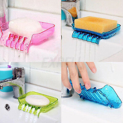 Bathroom Waterfall Soap Dish Storage Plate Tray Holder Case Container Suction UK